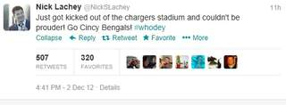 Nick Lachey kicked out of Bengals game