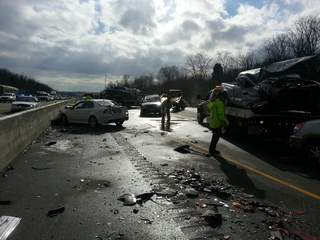 I-75 50 car pile up debris