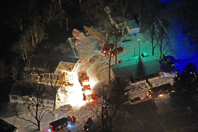 A view from Chopper 9 of a fatal mobile home fire in Turtlecreek Twp.