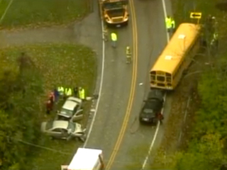 WATCH LIVE: At least 2 hurt in school bus crash