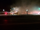 Firefighters battle restaurant blaze in the cold