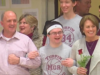 WATCH: 'Rock' of Turpin ball team hits the court