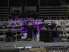 Behind the scenes at the setup for Elton John