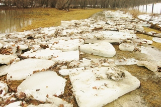 Huge ice chunks fill creek in Union, Kentucky