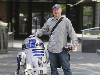 Fan-built R2-D2 droid is a hit in downtown tour