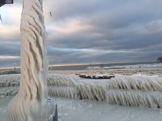 Ice sculptures on Lake Erie shore