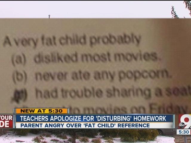 Teachers apologize for 'offensive' homework question describing 'fat child'