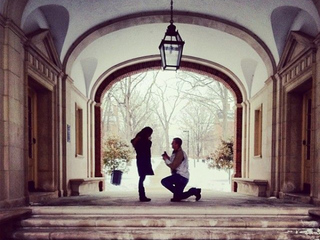 A kiss at midnight under the Upham Hall Arch