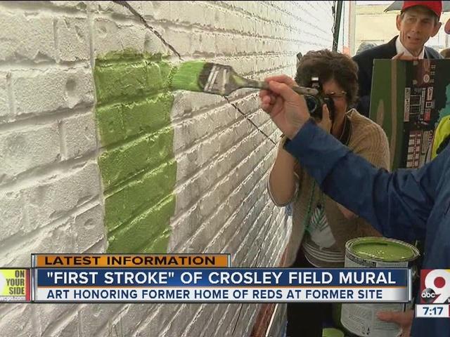 Crosley Field mural gets underway at former site of ballfield