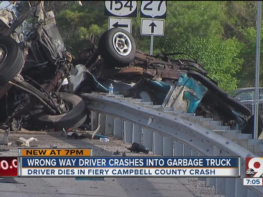 Car, Rumpke truck collide, go up in flames