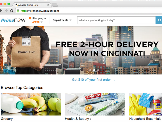 amazon prime introduces free 2 hour delivery option in cincinnati story. Black Bedroom Furniture Sets. Home Design Ideas