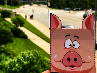 Celebrate Flying Pig with this paper cutout toy