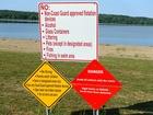 Danger warning posted at East Fork State Park