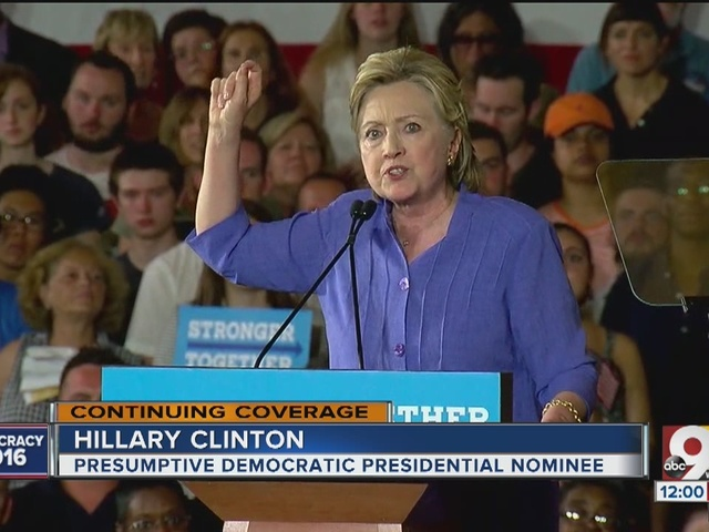 Hillary Clinton campaigns at Union Terminal