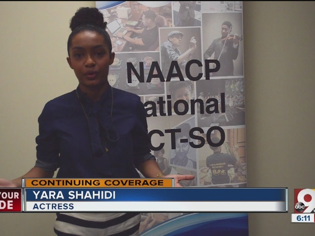 Actress Yara Shahidi speaks to Cincinnati high school students at NAACP…