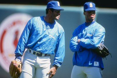 c6129f7188 Ken Griffey Sr., left, and Ken Griffey Jr. would eventually play together  on the Seattle Mariners. When Sr. would come to see Jr. play in high school,  ...