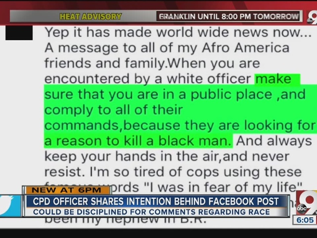Attorney defends police officer after controversial Facebook post