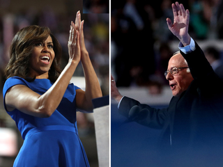 Sanders, first lady elicit tears, thrills at DNC