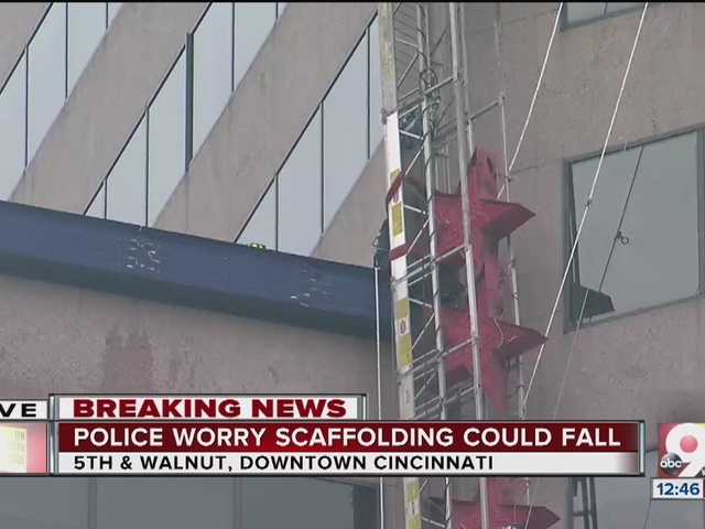 Scaffolding dangles sideways off US Bank building in downtown Cincinnati