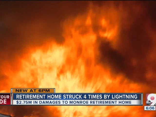 Monroe retirement home struck four times by lightning