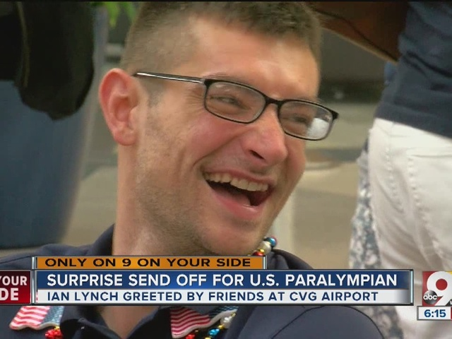 Surprise sendoff for paralympic athlete Ian Lynch