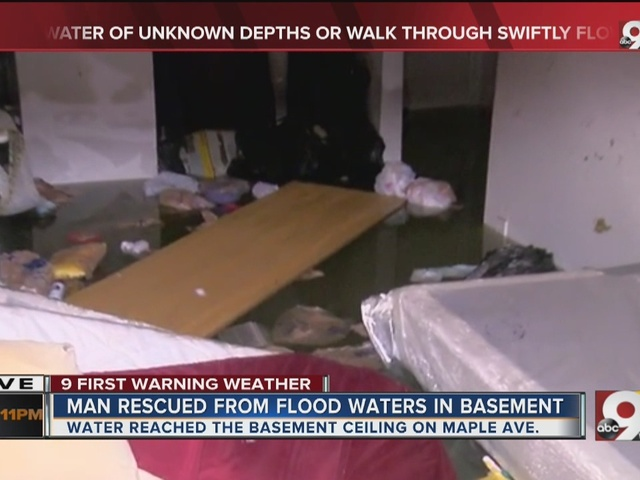 Man rescued from flood waters in basement
