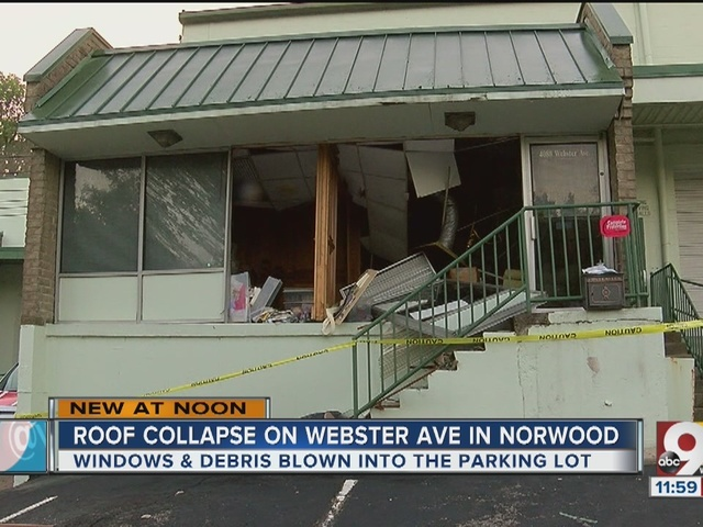 Roof collapse at small office building in Norwood