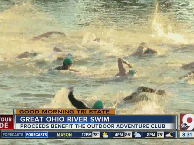 Dozens swim across Ohio River to benefit charity