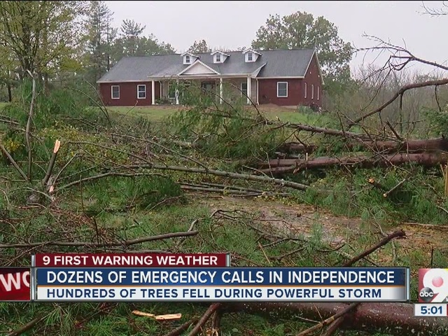 Dozens of emergency calls in Independence after storms