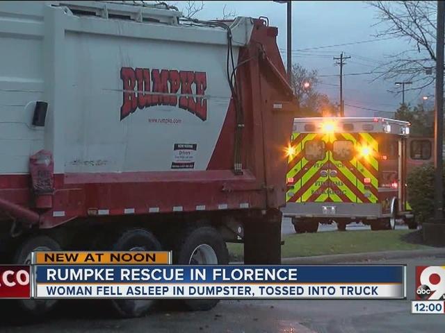 Woman sleeping in dumpster trapped in Rumple garbage truck