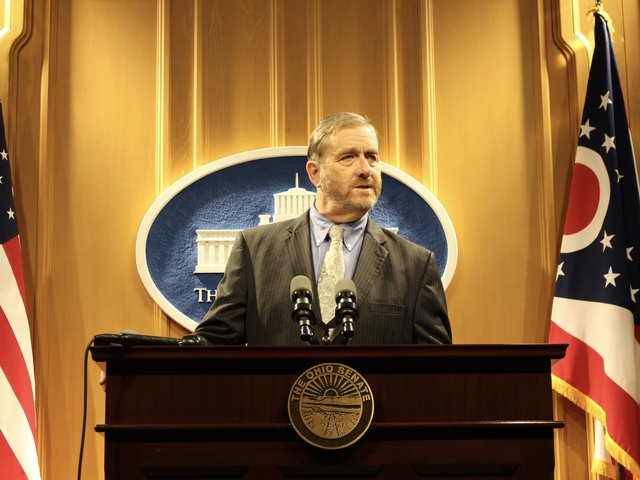 ohio state auditor dave yost at a press conference in the ohio statehouse