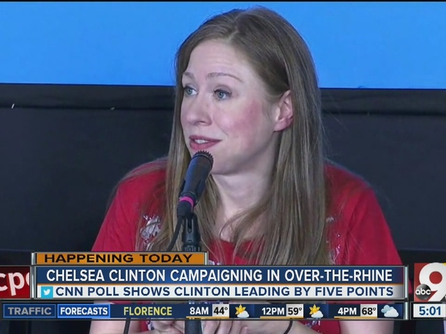 Chelsea Clinton campaigning in Over-the-Rhine