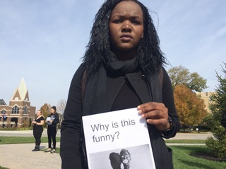 At XU, dozens protest racially offensive posts