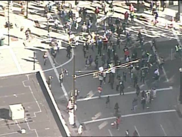 Ray Tensing trial: Chopper 9 gives aerial view of protests in downtown…