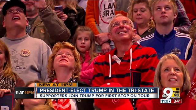 Supporters join Trump on first stop on -Thank You- tour