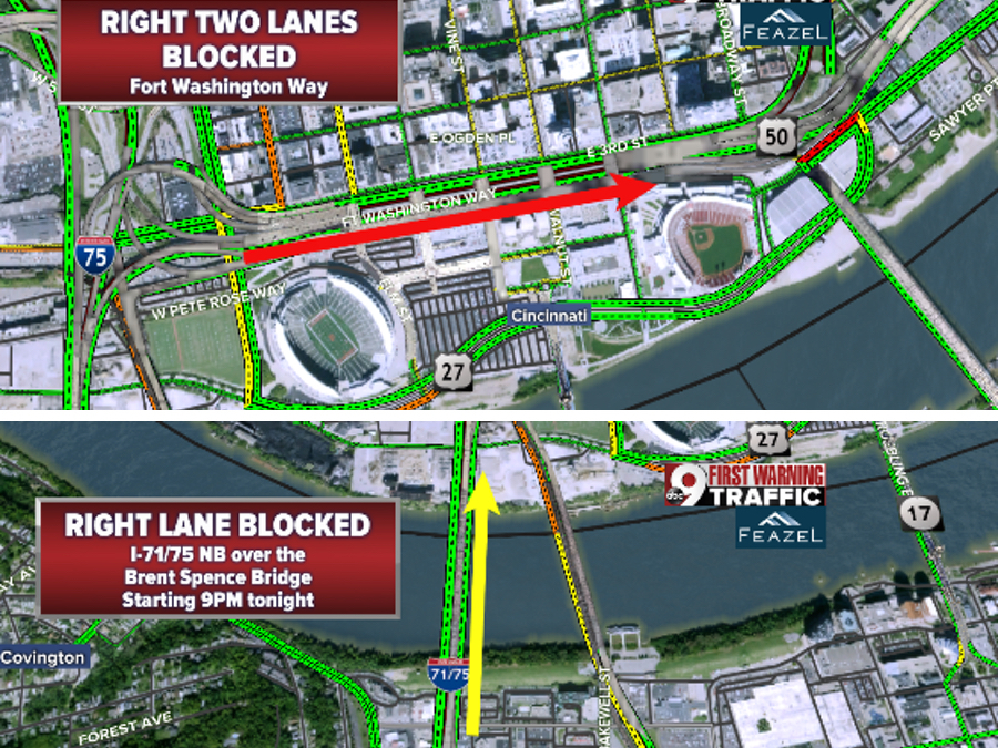 Roadwork means lane closures on Brent Spence Bridge, I-71