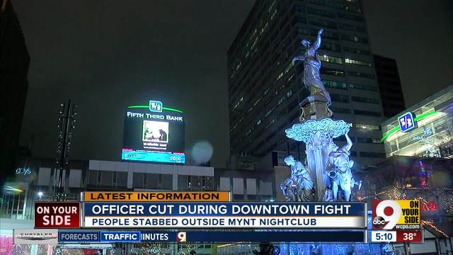 Officer cut during Downtown fight