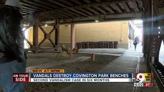 Vandals destroy Covington park benches