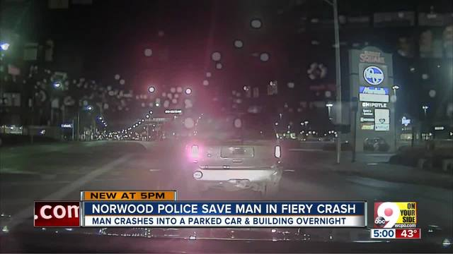 Norwood police save suspect in fiery crash