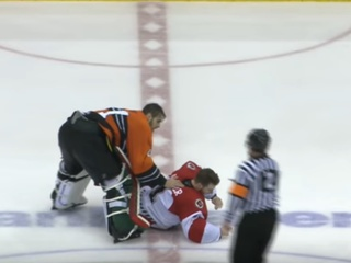 Video: Cyclones goalie fights wrong dude