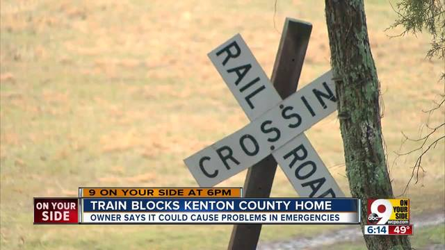 Train blocks Kenton County home for hours
