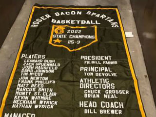 2002 Roger Bacon banner to be raffled off