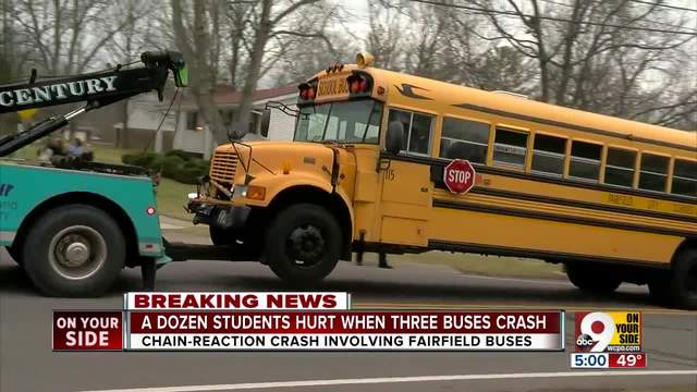Twelve students hurt in three-bus crash