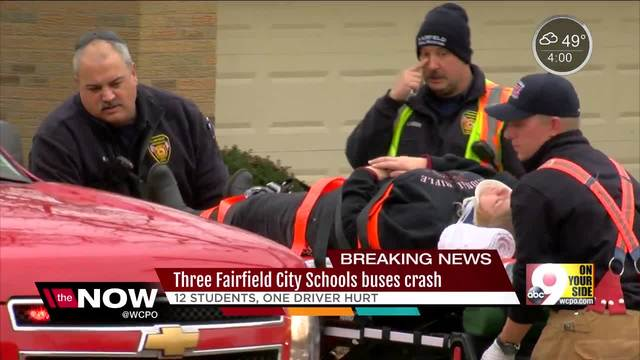Three school buses crash in Fairfield- send 12 students- one driver to hospital