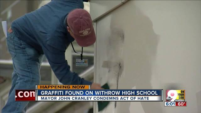 Swastikas- slurs painted on Withrow High School