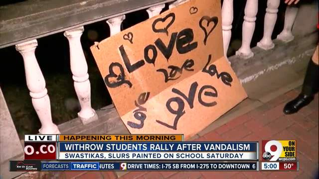 Withrow HS students rally after vandalism