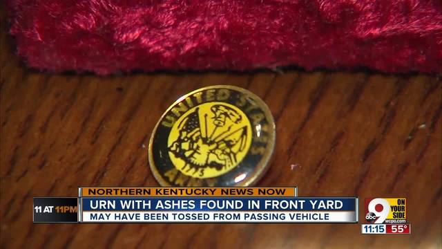 Couple finds veteran-s ashes in front yard