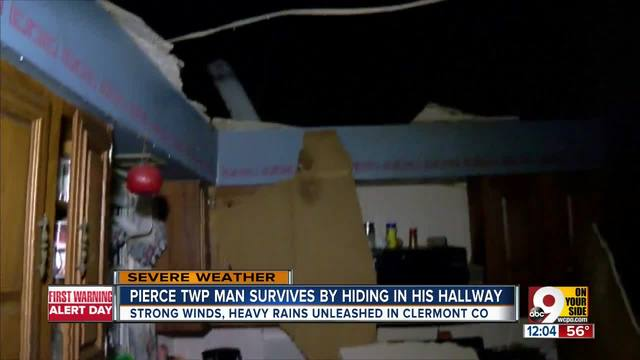Clermont Co- man survives by hiding in hallway during fierce storms
