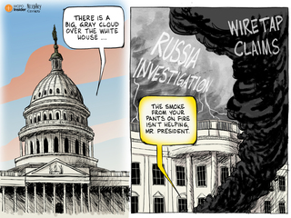 EDITORIAL CARTOON: Gray clouds over White House
