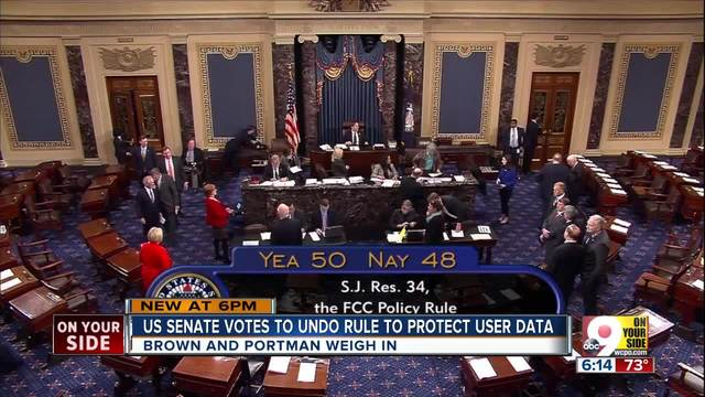 U-S- Senate votes to undo rule that protects user data